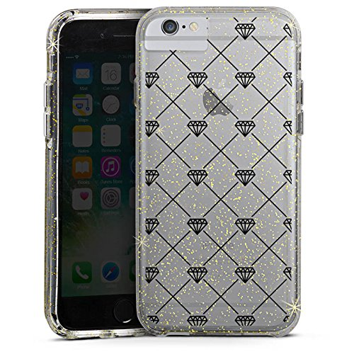 Apple iPhone 7 Bumper Hülle Bumper Case Glitzer Hülle Transparent mit Muster Diamanten Diamant Bumper Case Glitzer gold