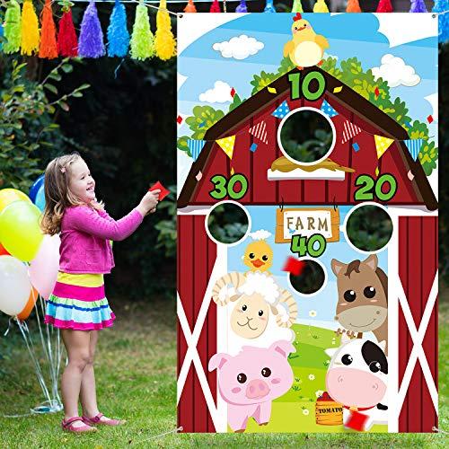 Fördert Kostüm Kann - Bauernhof Tier Werfen Spiele mit 3 Nylon Sitzsäcken, Lustiges Karneval Werfen Spiele, Bauernhof Tier Thema Party Dekorationen und Lieferungen