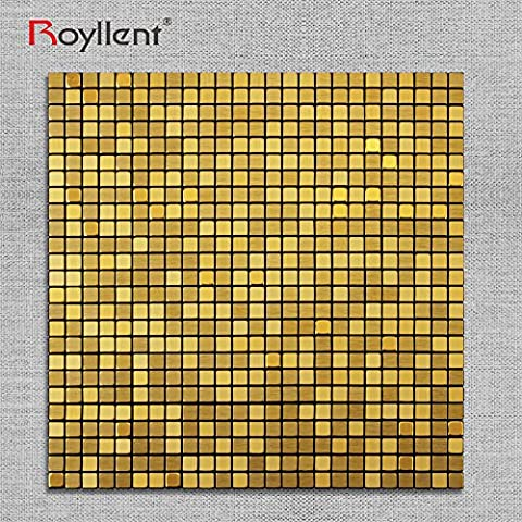 Royllent,Modern Aluminum Mosaic Tile, Peel & Stick, Wall Sticker, Backsplash, Accent Wall, glass,panel,furniture ,old tile renew ,1 sq.ft. (Gold Brushed)