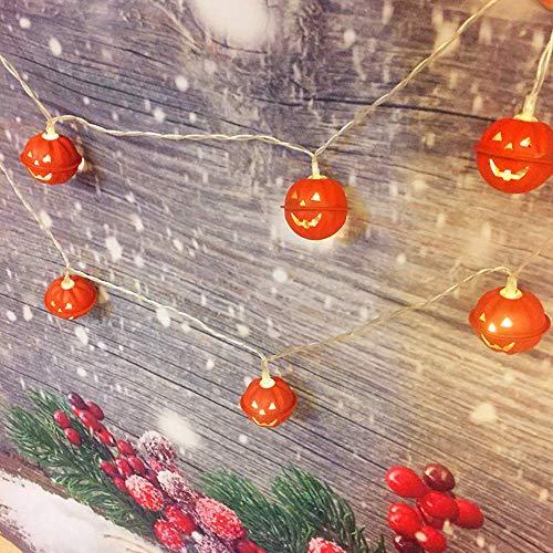 JZX Halloween Kürbis Bell Nachtlicht Led Schmiedeeisen Gesicht Batterie 20 Lichter String Dekorative Lichter Geisterhaus Wohnzimmer Schlafzimmer Villa Beleuchtung