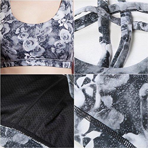 Zhhlinyuan Womens Fashion Printing Sports Bra Breathable Yoga Workout Bra Q15-0028 gray