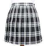 Cheerlife Mädchen Damen Faltenröcke Kariert Röcke Minirock kurz Skirt Schuluniform Cosplay Rock S Schwarz-Weiß