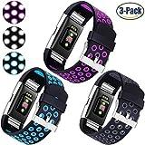 Für Fitbit Charge 2 Armband, HUMENN Zwei-Farben Weich Silikon Ersatzarmband Smartwatch Sport Band für Fitbit Charge 2