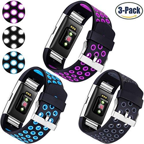 Für Fitbit Charge 2 Armband, HUMENN Zwei-Farben Weich Silikon Ersatzarmband Smartwatch Sport Band für Fitbit Charge 2 Herzfrequenz Fitnessaufzeichnung, Klein 3 Farbes #1