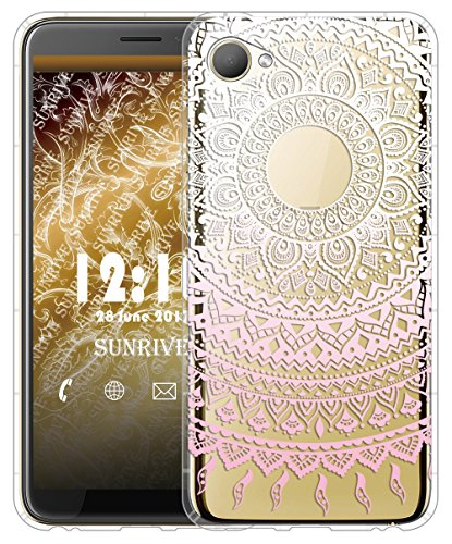 Sunrive Für HTC Desire 12 Hülle Silikon, Transparent Handyhülle Luftkissen Schutzhülle Etui Case für HTC Desire 12(TPU Blume rosa)+Gratis Universal Eingabestift