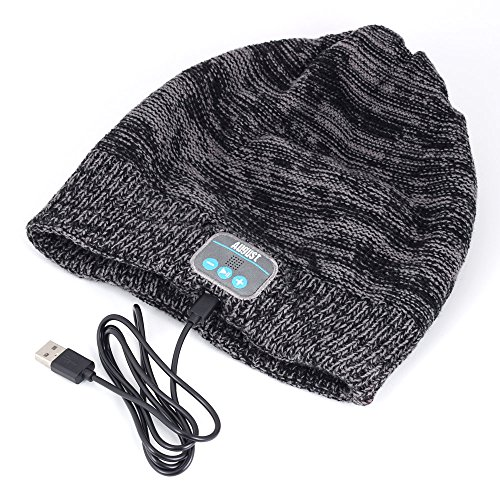 August EPA30 - Bluetooth Mütze - Winter Strickmütze mit Bluetooth Stereo Kopfhörer, Mikrofon, Freisprechen und integriertem Akku - Kompatibel mit Smartphones, Handys, Tablets, iPhone, iPad, Laptops (Kobalt) - 4