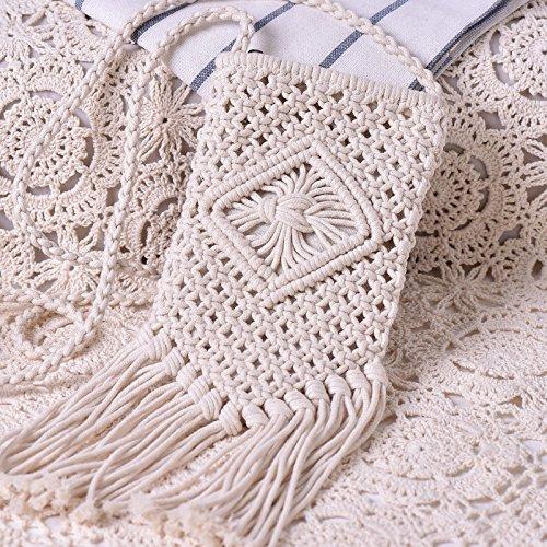 Otomoll Handgefertigte Cotton Linie Quasten Webart Weiblichen Schräge Tasche Schultertasche WHITE Handbag