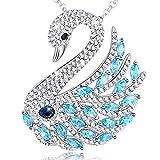 MEGA CREATIVE JEWELRY Damen Halskette Blau Schwan Anhänger Brosche Pin Schmuck mit Kristallen von SWAROVSKI Schöne Pullover Kette Geschenke Für Frauen