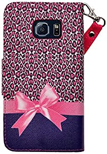 SumacLife Faux Leather Design Wallet Stand Case for Samsung Galaxy S6 Edge with Removable Wristlet - Retail Packaging - Pink Cheetah Bow