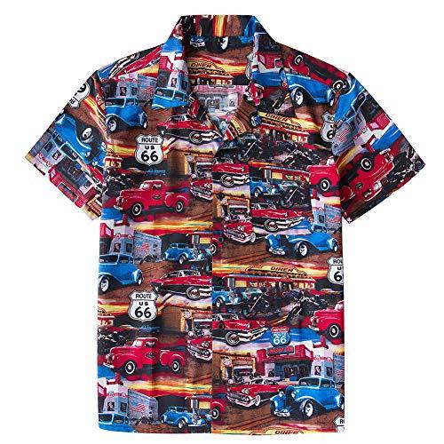 Herren Kurzarmhemd Sommer Strand Kurzarm Route66 Classic Car Baumwolle Material Print Hawaiian Shirt Kurzarm,Route 66,XL (Jugend Hawaiian Shirt)