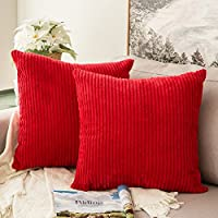 MIULEE Corduroy Soft Solid Decorative Square Christmas Decoration Throw Pillow Case Striped Cushion Cover for Home Sofa Bedroom Car 18 x 18 Inch 45 x 45Cm Red Set of 2 Lined