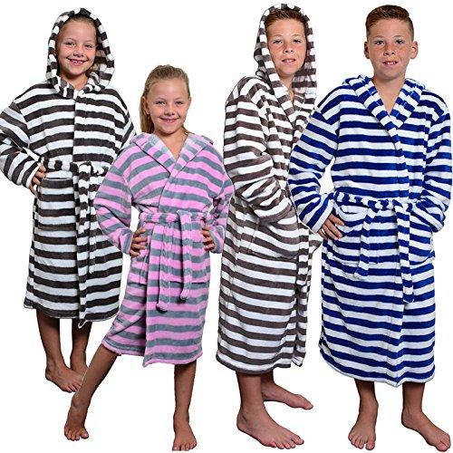 JEMIDI Bademantel für Damen und Herren Mädchen und Jungen Unisex - Reisebademantel Morgenmantel Saunamantel Morgenmantel in 4 Farben erhältlich ab Gr 122 - XXL Navy/Weiß