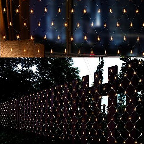 AGPtek 4,5 m x 1,5 m 300 LED della maglia all'aperto coperta impermeabile stringa net luci fairy light lampada per festa di nozze decorazione di Natale Festival con controller EU spina bianco caldo