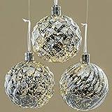 Unbekannt Weihnachtskugel Silber Beleuchtet 3er-Set 15 cm (1010148) Christbaumkugeln