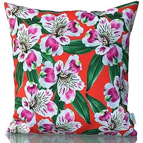 Sunburst Outdoor Living Adore Rosso marocchino Copriletto Cuscino decorativo federa per cuscino divano, letto, divano o Patio–Solo Custodia, senza inserto, Poliestere, Rejoice, 45 cm x 45 cm
