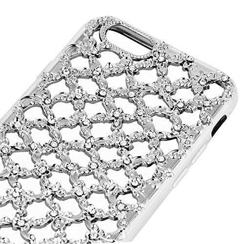 "Hülle DIAMOND Flower Blumen für Apple Iphone 7 4,7"" Hülle Etui Flip Cover Silikon Tasche Back Case Transparent (silber) silber"