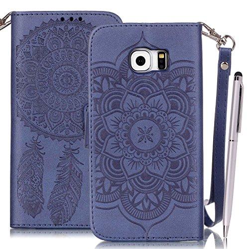 Etui Samsung S6 Edge , Anfire Attrape Reve et Henna Mandala Sun Lace Tribal Vintage Motif Peint Mode PU Cuir Étui Coque pour Samsung Galaxy S6 Edge SM - G925F (5.1 pouces) Housse de Protection Luxe St Bleu