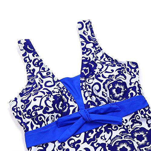 FeelinGirl Damen Badekleid Geblümt Spa Badeanzug Strandkleid Baden Swimwear - 6