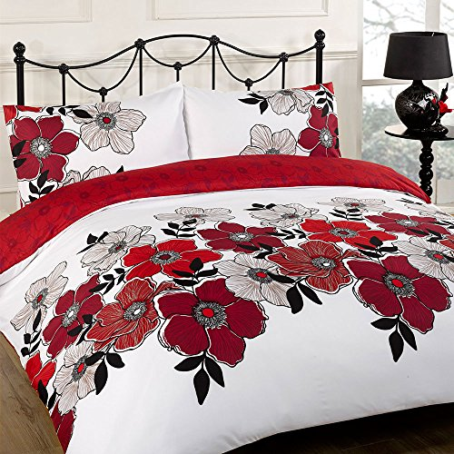 Dreamscene Pollyanna Floral Design Duvet Cover Bedding Set With Pillowcases, Red, Double