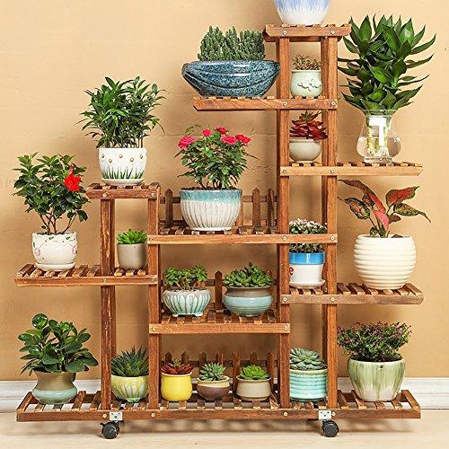 Wssf- fioriera in legno massello di pino balcone a più piani per interno salotto piante carnose bonsai mensola mobile da terra a piantana per esposizione, 118 * 25 * 115cm