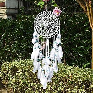 EasyBravo großer Traumfänger im Boho-Stil, mit weißer Feder und blauen Perlen, Makramee, Wandbehang für Vintage-Hochzeit…