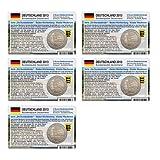 Set - 5 Münzkarten (ohne Münze) für 2-Euro Gedenkmünze Deutschland A-J 2013 Baden-Württemberg vorgestanztes Münzbild Größe: 85 x 54mm pro Karte