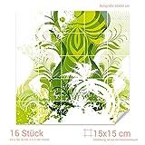 GRAZDesign Fliesensticker Küche grün - Bad Fliesen Aufkleber Ornamente - Fliesenbilder Küche glänzend - Fliesenaufkleber