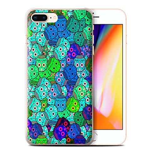 Stuff4 Hülle / Case für Apple iPhone 8 Plus / Grün/Rose Muster / Süßigkeiten Schädel Kollektion Türkis