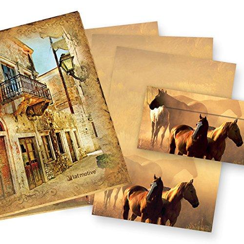 Briefpapier Set Pferde (25 Sets inkl. Kuverts) Präsentmappe »Pferdepaar in Westernromantik«