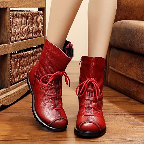&zhou Femme Martin bottes d'automne et des bottes à la main d'hiver Red