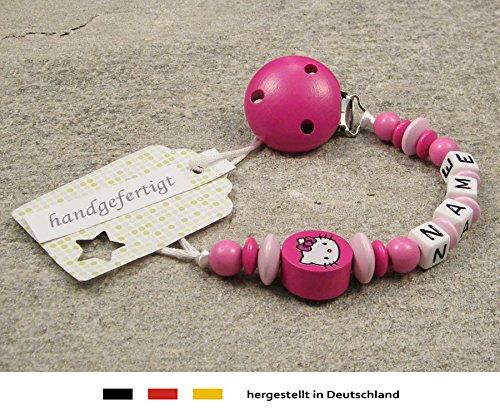 Baby SCHNULLERKETTE mit NAMEN | Schnullerhalter mit Wunschnamen - Mädchen Motiv Hello Kitty in pink, rosa (Kitty Ein Hello Ist Mädchen)