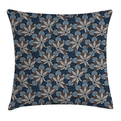 DCOCY Ethnic Werfen Kissenbezug, indischen Blatt Muster mit Mandala Effekte Lotus Flower Eastern Artwork, dekorative quadratisch Accent Kissen Fall, 45,7x 45,7cm, petrol blau Umber - Muster Werfen Rot Decke