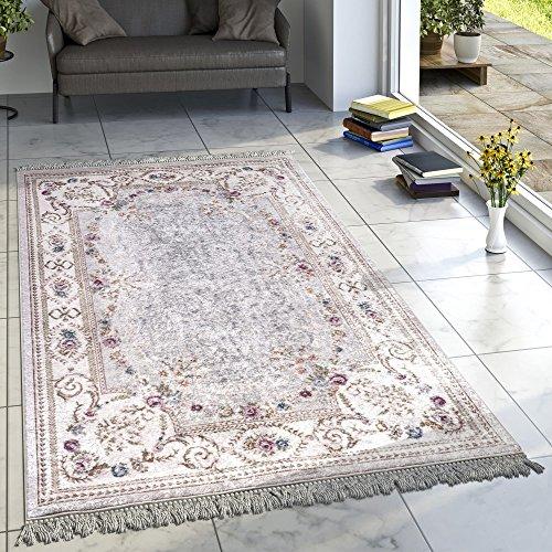 Designer Teppich Wohnzimmer Teppiche Orient Bedruckt Bordüre Floral Pastell Creme