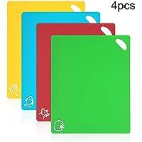 Vicloon Tagliere Cucina 4 Pack Tagliere Plastica Antiscivolo Materiale PP per Alimenti  Resistente al Calore Antimicrobico e Non Tossico