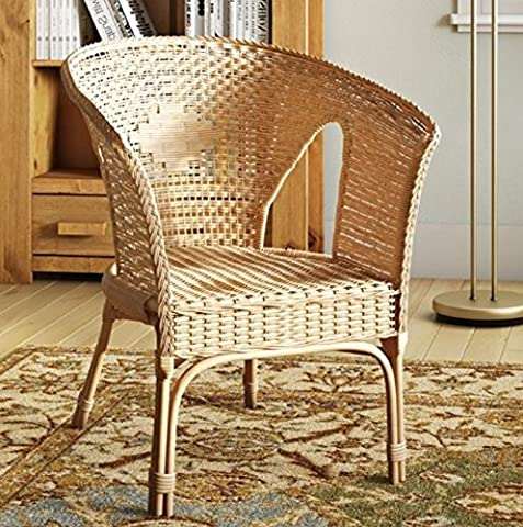Wicker Rattan Chair Vintage Shabby Chic Armchair Hallway Bedroom Traditional Furniture White Natural Honey Colour Solid Wood Living Room Classic Conservatory Bistro Tub Seat Wooden Frame Indoor Outdoor