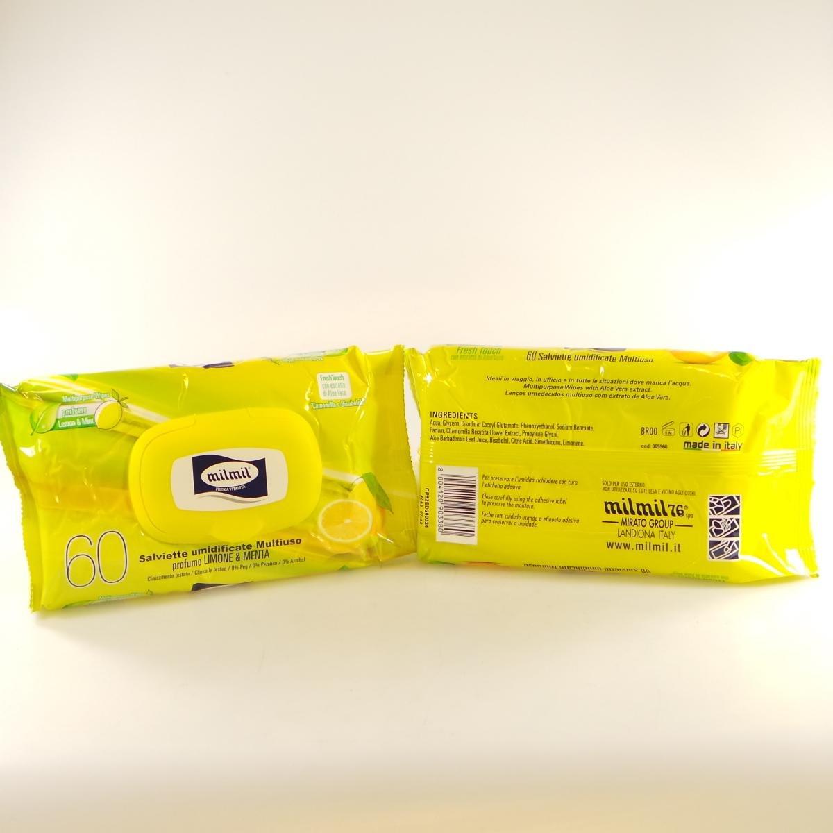 Salviette Multiuso 60 Salviettine Limone e Menta