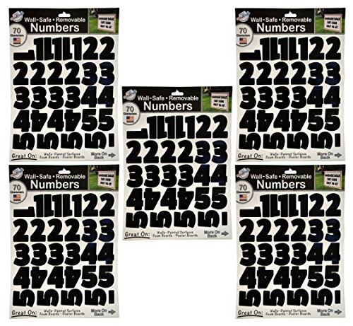Große Alphabet Zahlen und Buchstaben Aufkleber perfekt für Unternehmen, Wände, gestrichene Oberflächen, Schaumstoff Boards, Poster Boards und Schulprojekte. 5 Pack Black Numbers (Zahlen Großer Aufkleber,)