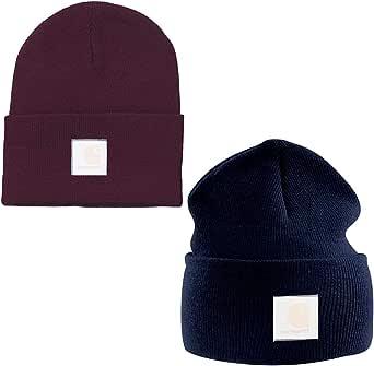BETOY Berretto Invernale, 2 Pezzi Acrylic Knit Hat Acrylic Watch Hat Beanie a Maglia Berretti Unisex-Adulto, Blu Rosso