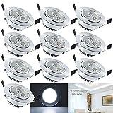 Hengda® Einbaustrahler 10er 3W LED Deckenstrahler Spot Lampe Treppe Küchen Decke Einbau Spots Strahler mit Travo Einbauleuchten