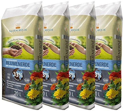Floragard Kleeschulte Blumenerde torfreduziert 4x20 L • 33 % Klimavorteil • mit wertvollen nachwachsenden Rohstoffen • 80 L