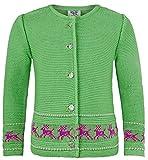 Strickjacke Jenny mit Hirschstickerei Kiwi Gr. 110 - Wunderschöne Trachtenjacke für Mädchen zu Oktoberfest, Kirchweih oder Ausflug