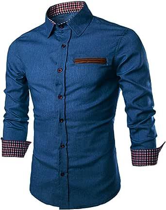 JINIDU Men's Casual Button Down Denim Shirts Long Sleeve Dress Shirt