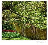 Wallario Herdabdeckplatte / Spritzschutz aus Glas, 2-teilig, 60x52cm, für Ceran- und Induktionsherde, Bunte Blumen im Park am Wasser - Frühblüher am Ufer