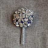 GJX Fatto a mano Diamond Crystal Pearl Rose di seta Damigella d'onore Bouquet da sposa Artificial Personalizzazione Sposa Holding Bouquet Matrimonio durevole con spilla Corpetto Fiore (Color : Blue)