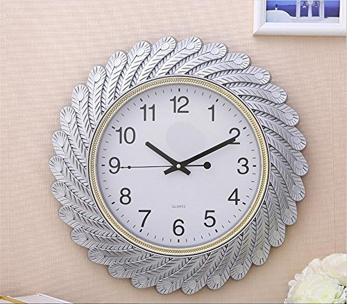 H&M Wall clock europe modern wall wall clock quiet clock retro wall clock fashion simple living room kitchen restaurant bedroom clock - Gold/Silver , Silver