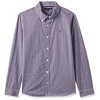 Tommy Hilfiger Boy's Dobby Check Long Sleeve Shirt, Brown (Cordovan/Bright White 266), 16