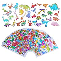 LOKIPA 14 Dinosaur Sticker Sheets for Party Bag Fillers, 222PCS