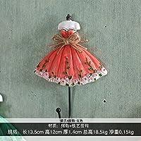 FuRongHuang The Living Room Decoration Umbrella Hook Key Hook Hook Wall Princess Dress Coat Hook,Big Skirt Red