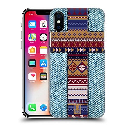 Head Case Designs Bellezza Della Croce Croci Da Collezione Cover Retro Rigida per Apple iPhone X Croce Azteca Jeans