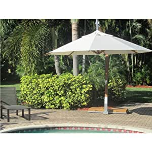 Bambrella 3,5 m Beistelltisch, rund, aus Holz, mit Freitragender Sonnenschirm, Baldachin weiß, verstellbarer Standfuß, Metallknicker, Premium Qualität, Sonnenschirm